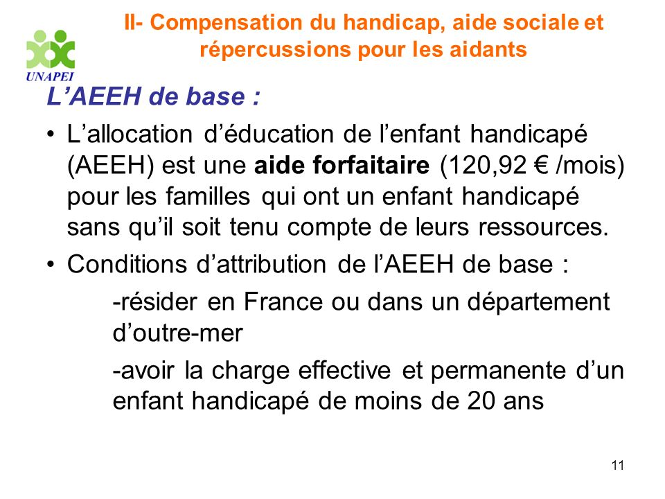 Conditions d'attribution de l'AEEH de base :