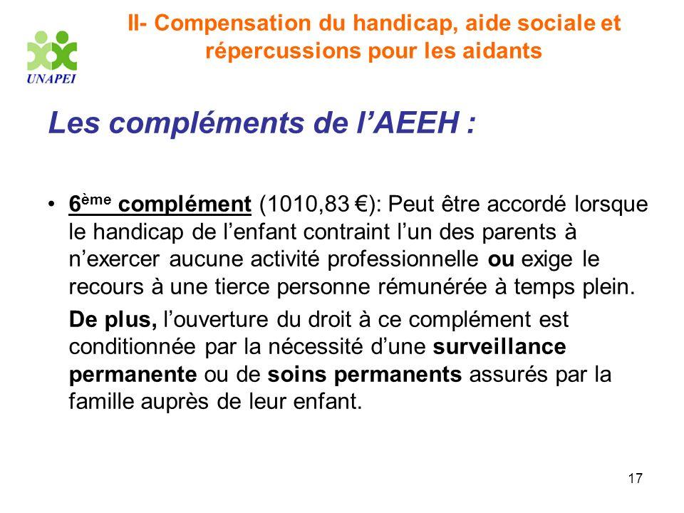 Les compléments de l'AEEH :