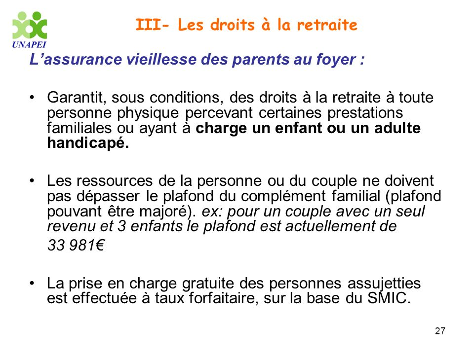 III- Les droits à la retraite