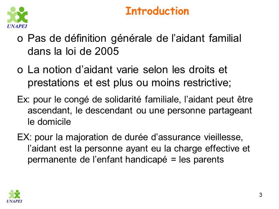 Pas de définition générale de l'aidant familial dans la loi de 2005