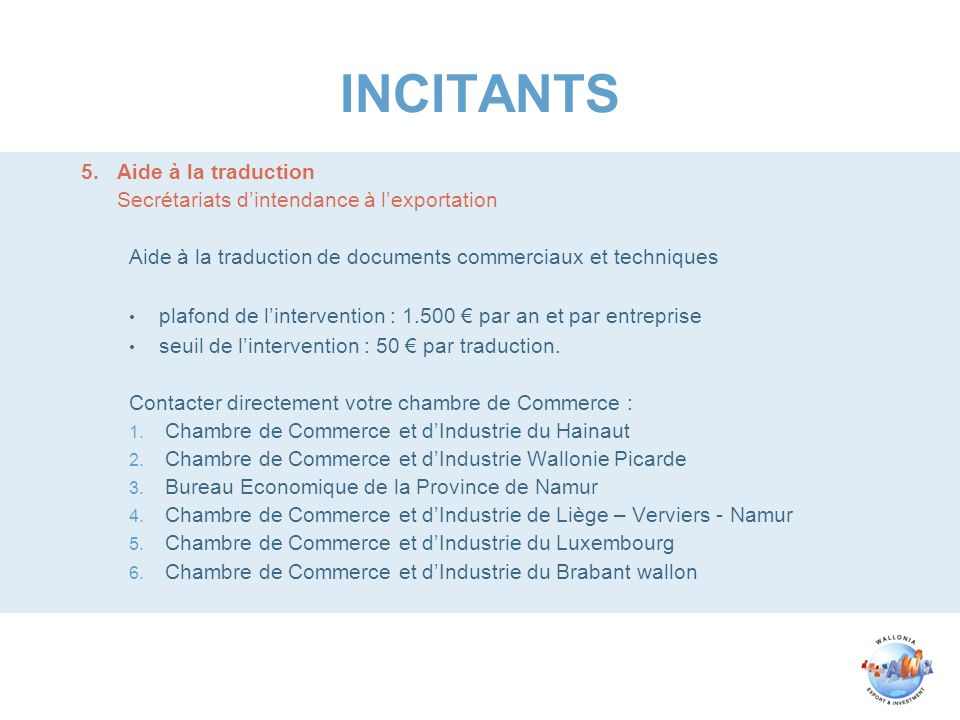 INCITANTS 5. Aide à la traduction