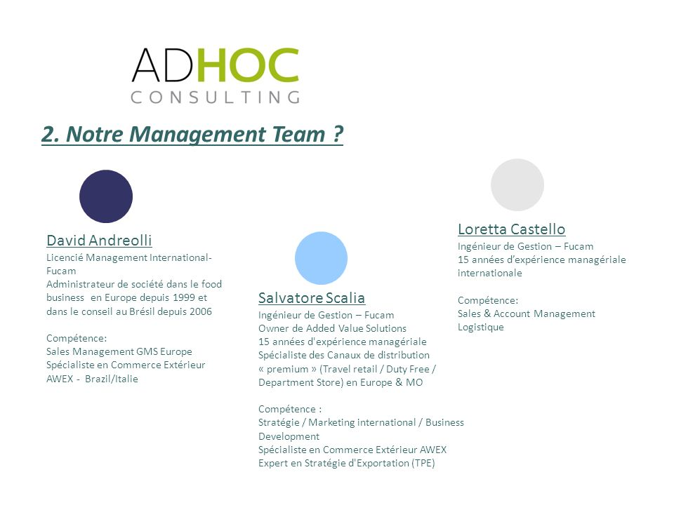 2. Notre Management Team Loretta Castello David Andreolli