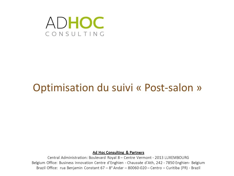 Optimisation du suivi « Post-salon »