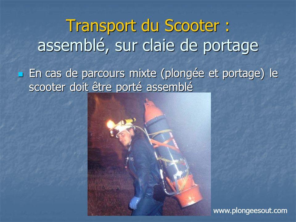 Transport du Scooter : assemblé, sur claie de portage