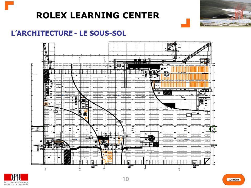 ROLEX LEARNING CENTER L'ARCHITECTURE - LE SOUS-SOL