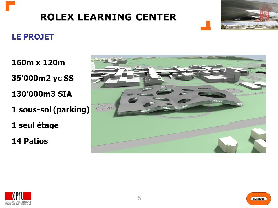 ROLEX LEARNING CENTER LE PROJET 160m x 120m 35'000m2 yc SS