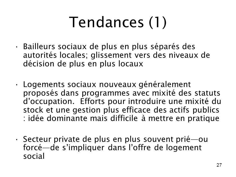 Tendances (1)Bailleurs sociaux de plus en plus séparés des autorités locales; glissement vers des niveaux de décision de plus en plus locaux.
