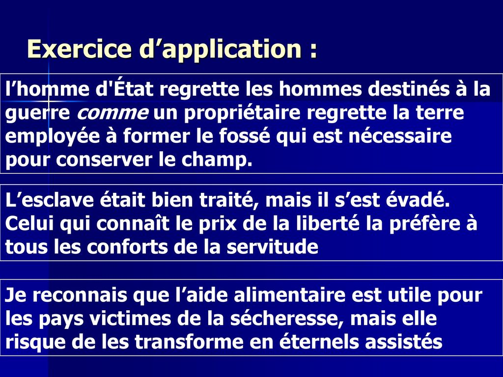 Exercice d'application :