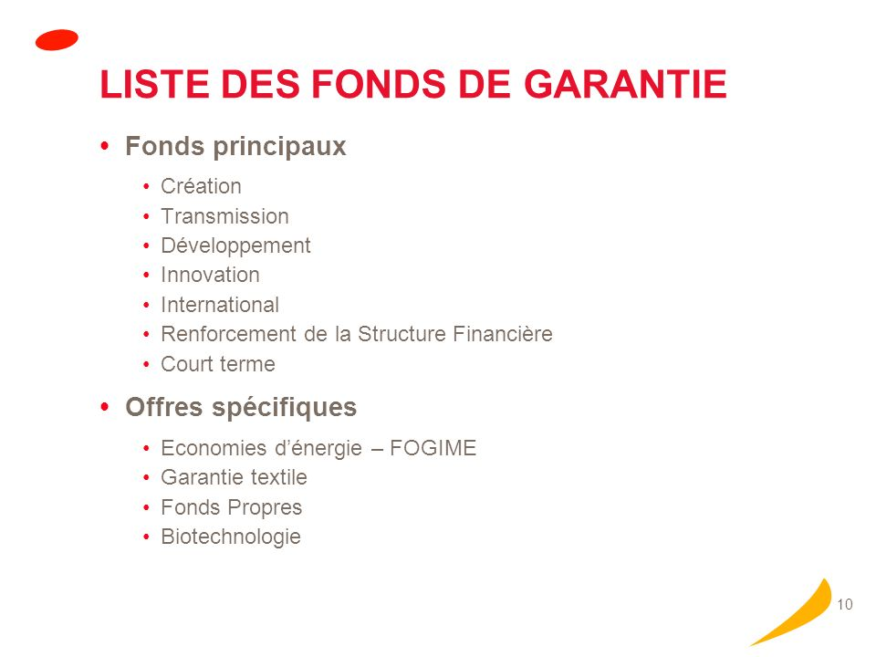 Prêts long ou moyen terme Fonds de garantie Innovation