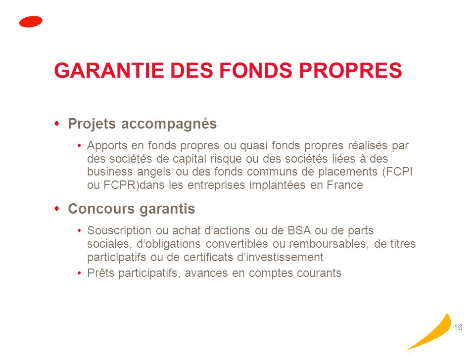 GARANTIE DES FONDS PROPRES