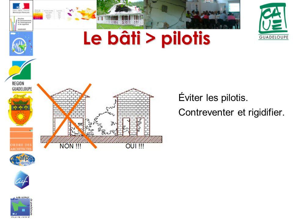 Le bâti > pilotis Éviter les pilotis. Contreventer et rigidifier.
