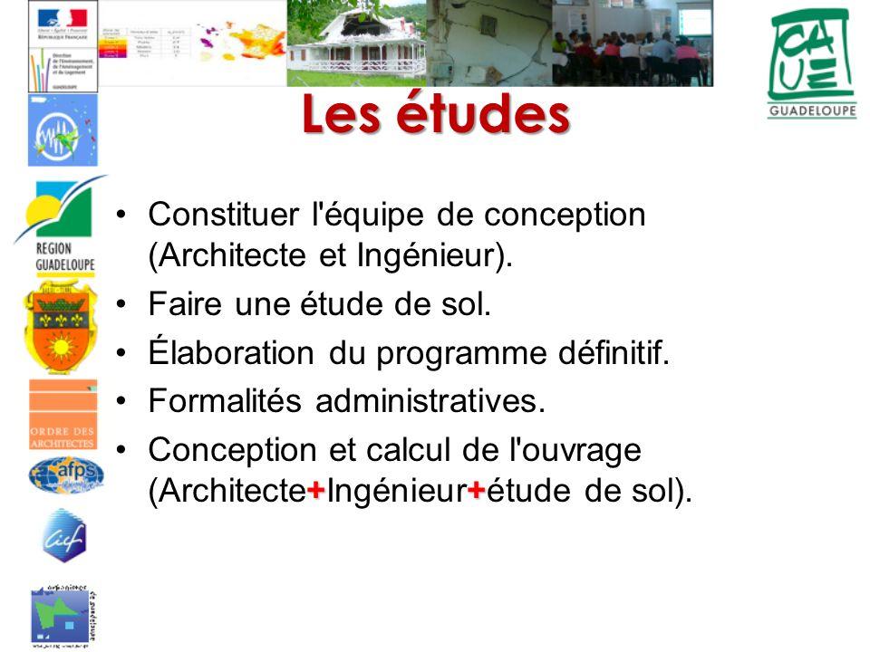 Les études Constituer l équipe de conception (Architecte et Ingénieur). Faire une étude de sol. Élaboration du programme définitif.