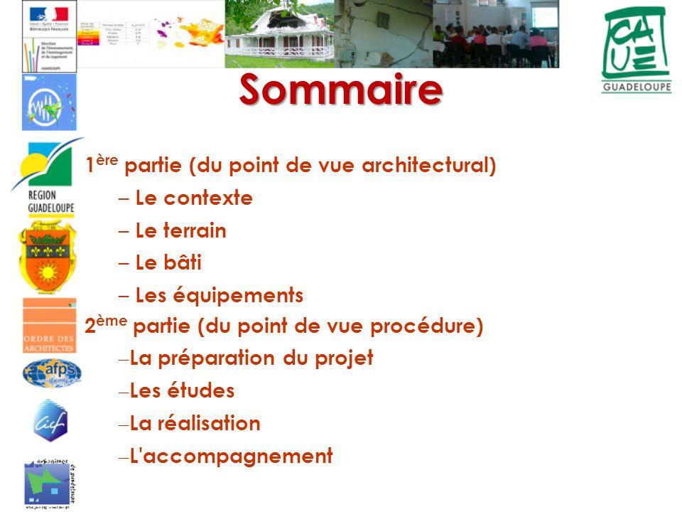 Sommaire 1ère partie (du point de vue architectural) Le contexte