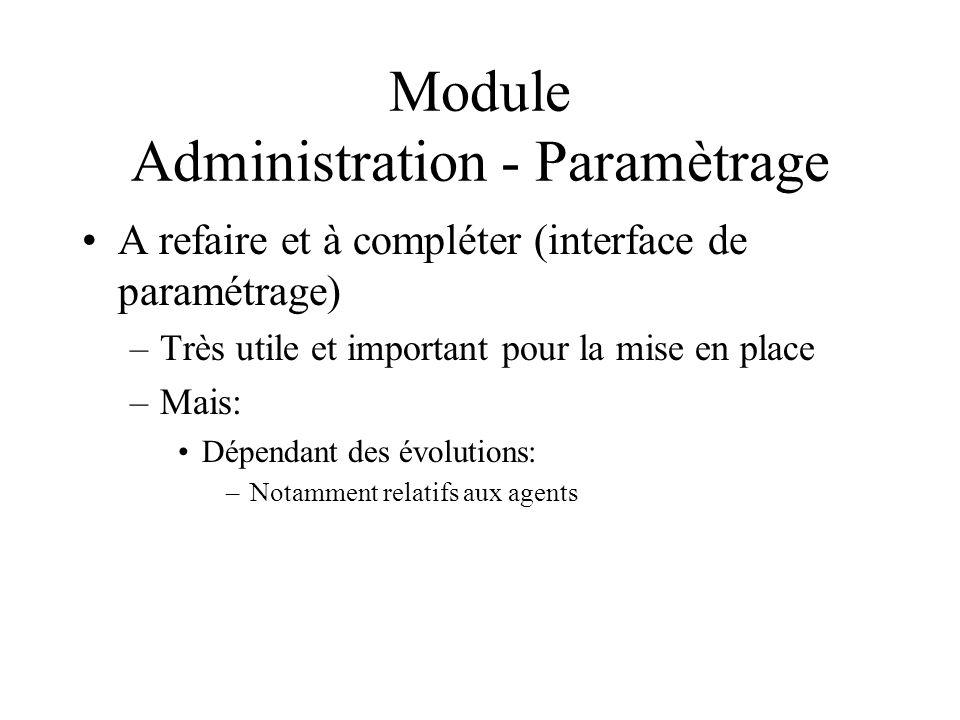 Module Administration - Paramètrage