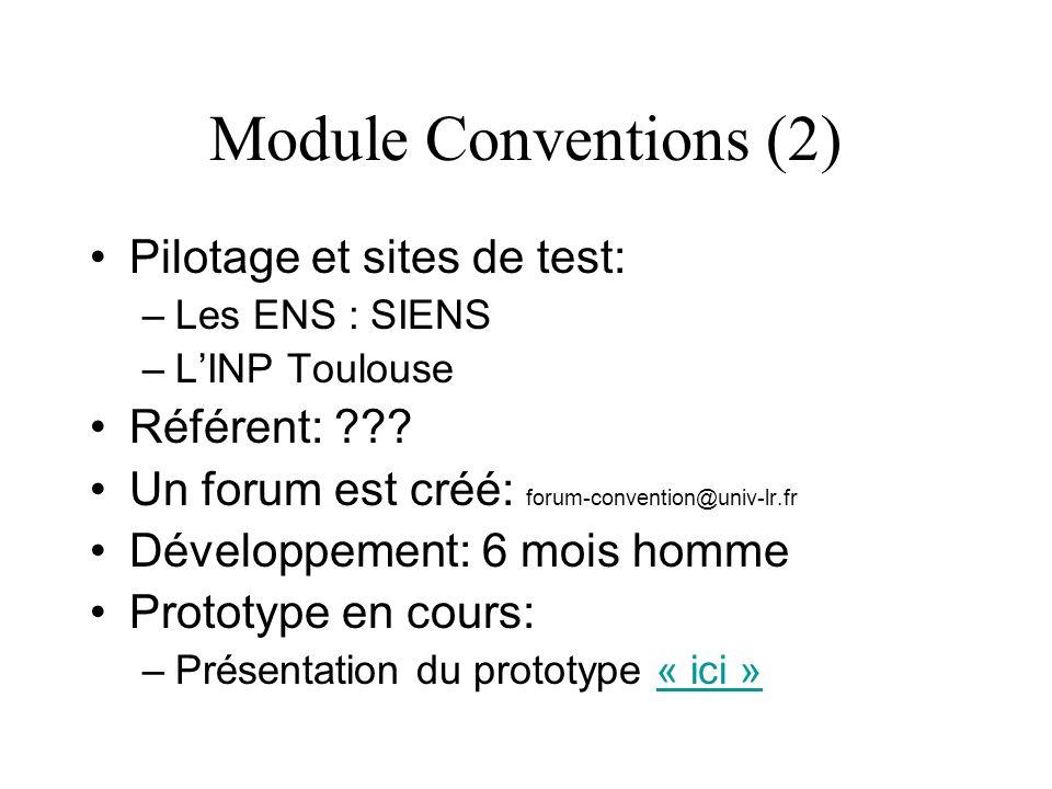 Module Conventions (2) Pilotage et sites de test: Référent: