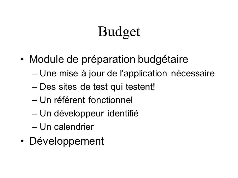 Budget Module de préparation budgétaire Développement