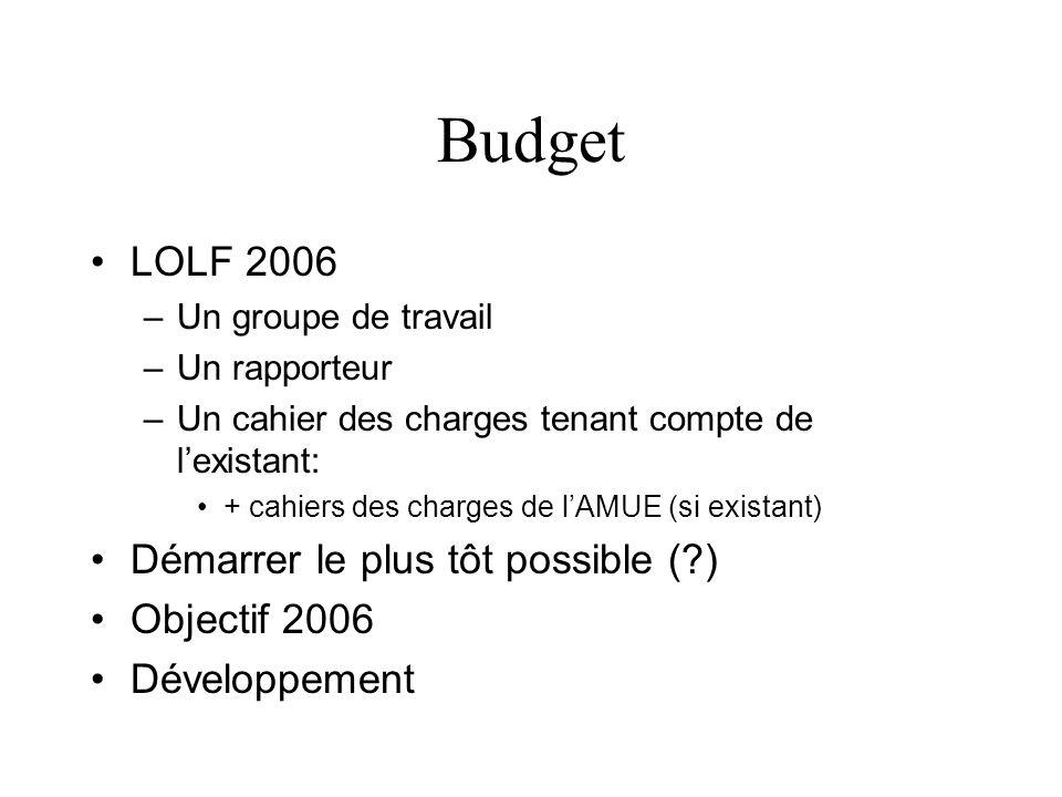 Budget LOLF 2006 Démarrer le plus tôt possible ( ) Objectif 2006