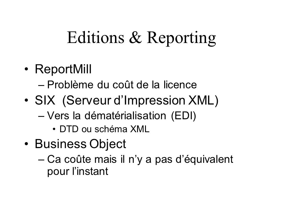 Editions & Reporting ReportMill SIX (Serveur d'Impression XML)