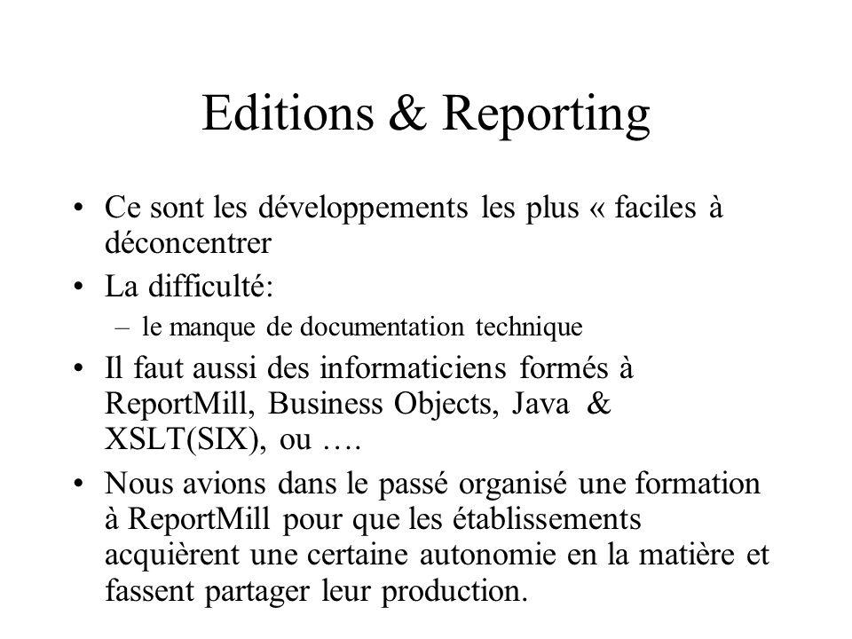 Editions & Reporting Ce sont les développements les plus « faciles à déconcentrer. La difficulté: le manque de documentation technique.