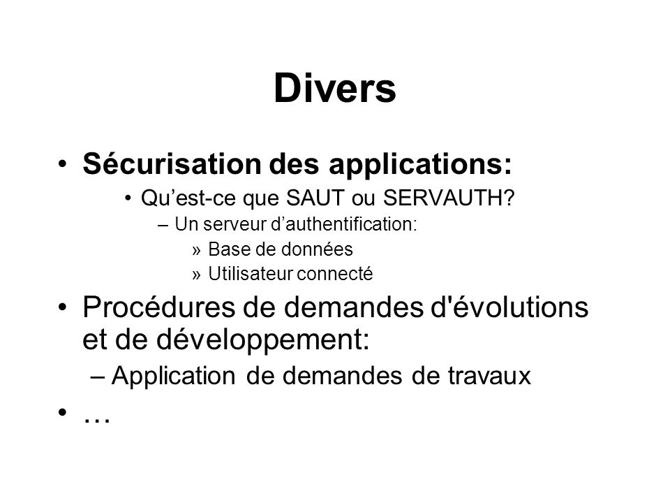 Divers Sécurisation des applications: