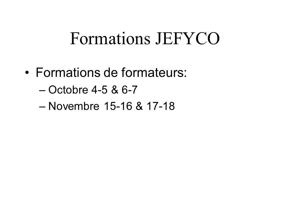 Formations JEFYCO Formations de formateurs: Octobre 4-5 & 6-7