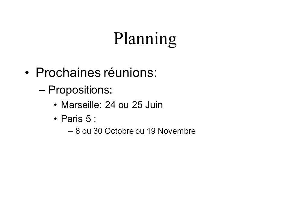 Planning Prochaines réunions: Propositions: Marseille: 24 ou 25 Juin