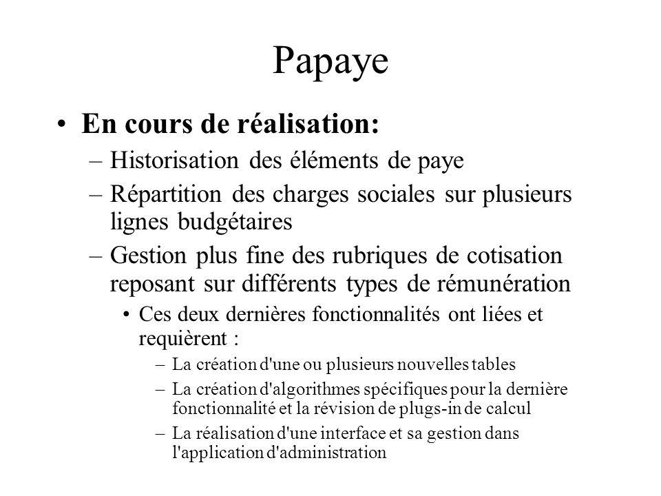 Papaye En cours de réalisation: Historisation des éléments de paye