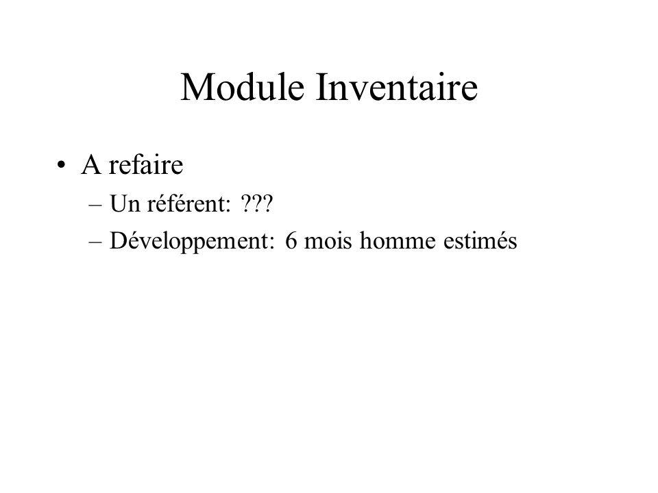 Module Inventaire A refaire Un référent: