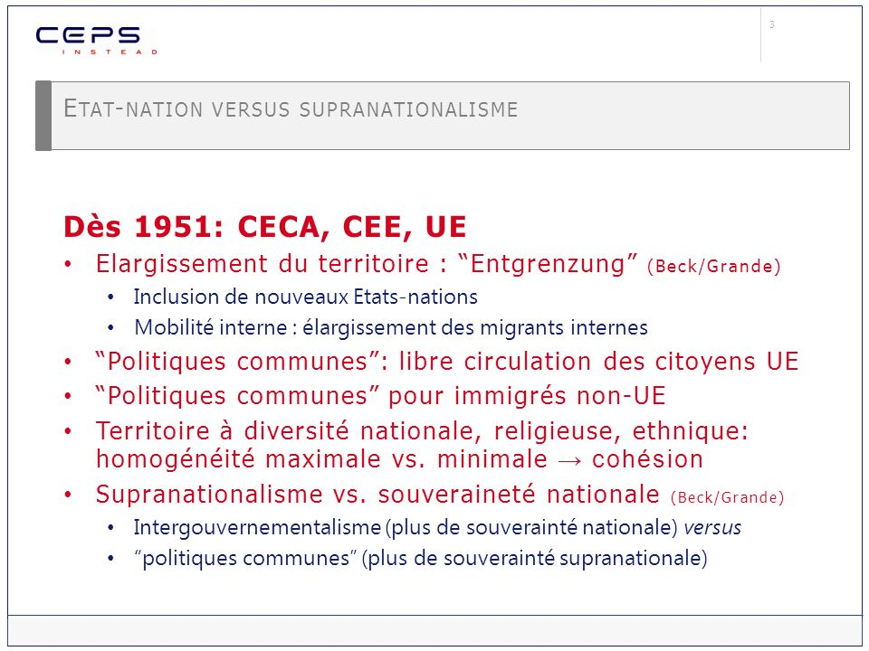 Etat-nation versus supranationalisme
