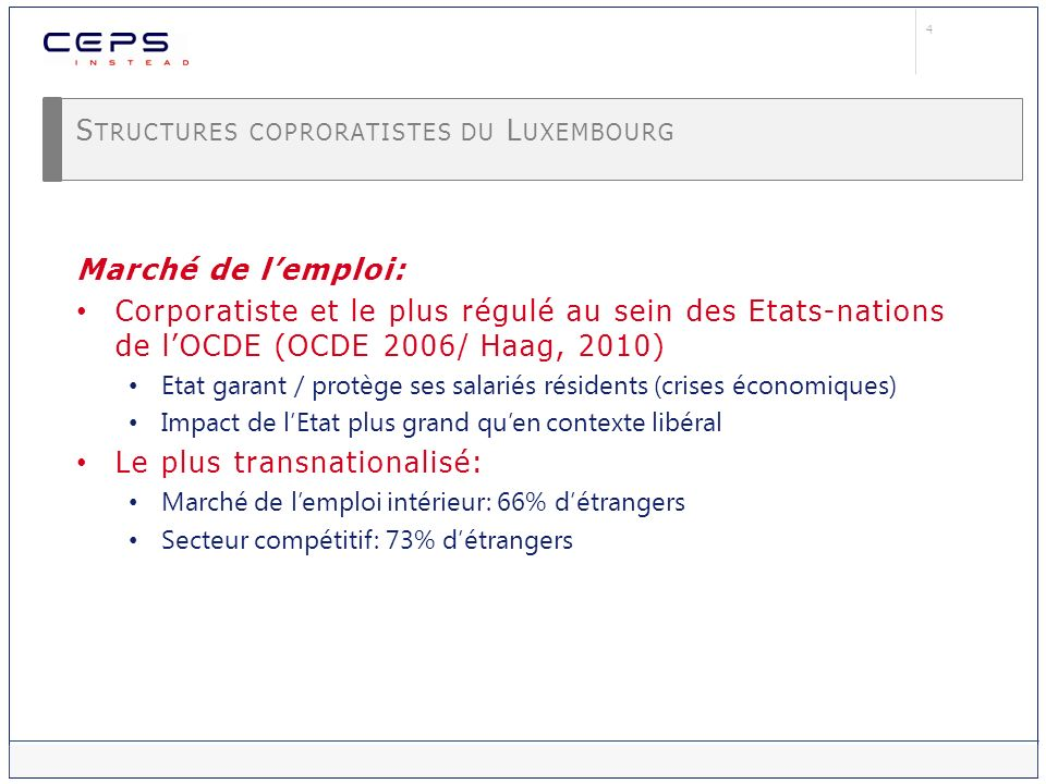 Structures coproratistes du Luxembourg