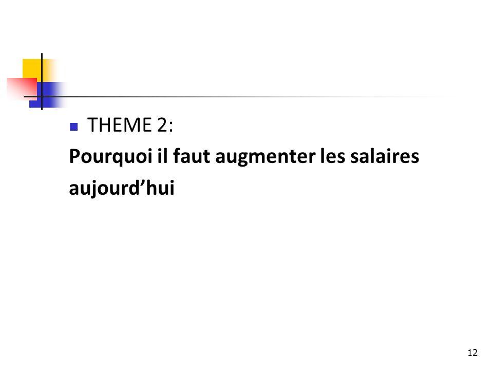 THEME 2: Pourquoi il faut augmenter les salaires aujourd'hui
