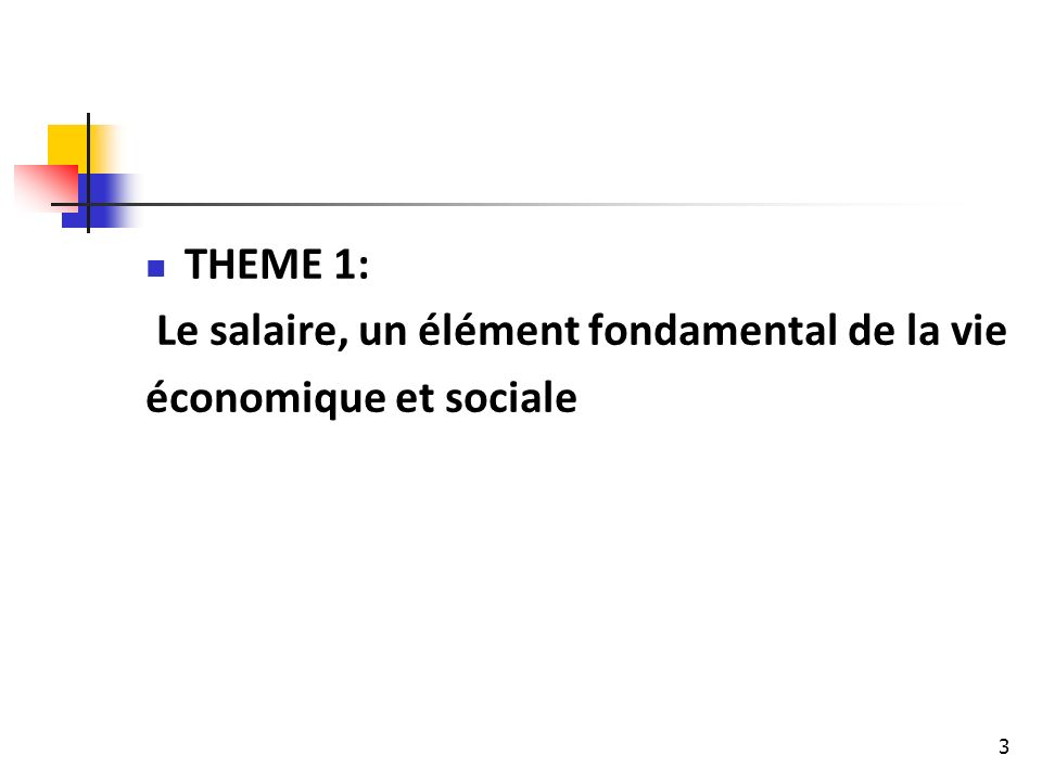 THEME 1: Le salaire, un élément fondamental de la vie économique et sociale