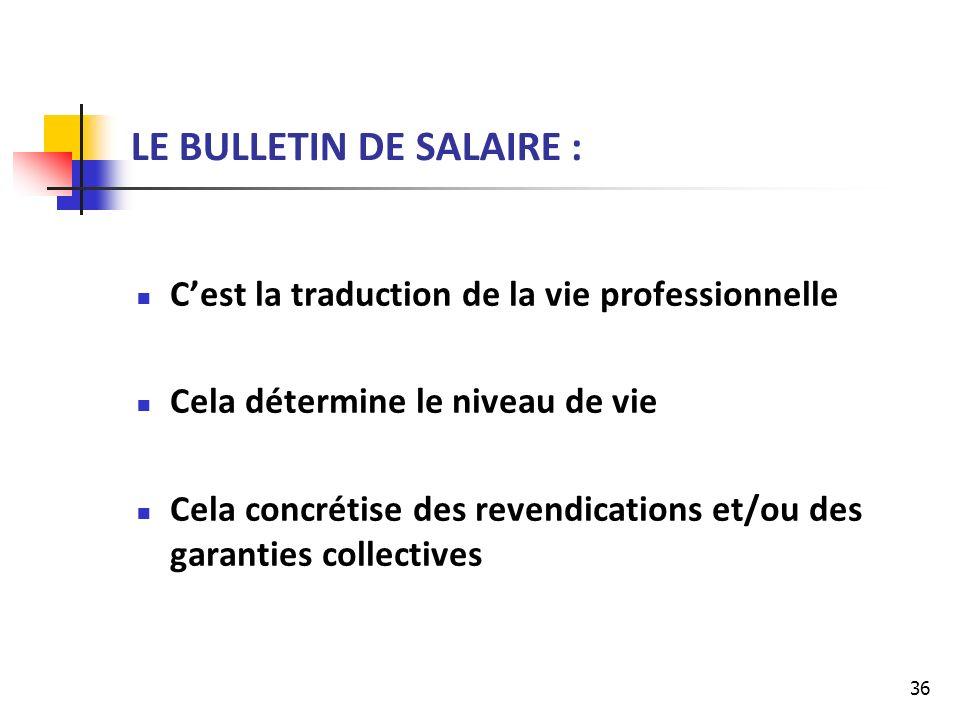 LE BULLETIN DE SALAIRE :