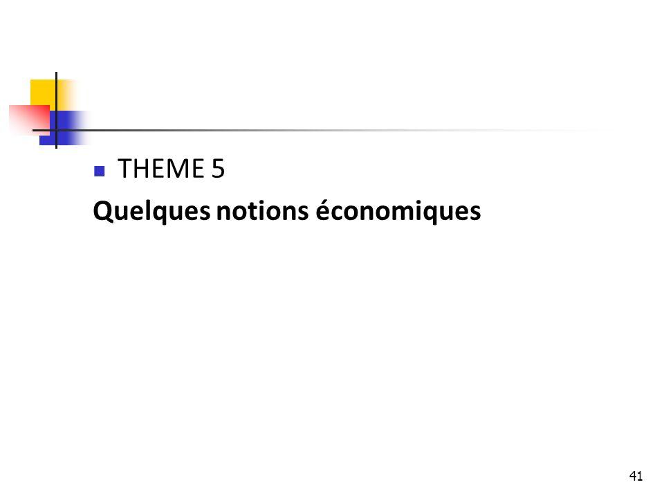 THEME 5 Quelques notions économiques
