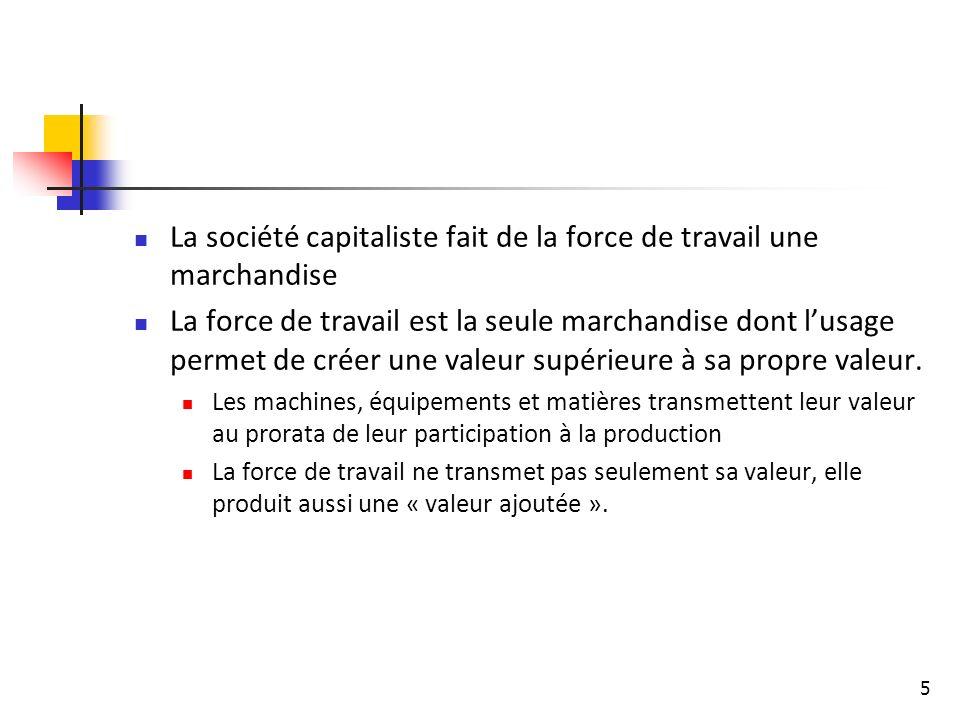 La société capitaliste fait de la force de travail une marchandise