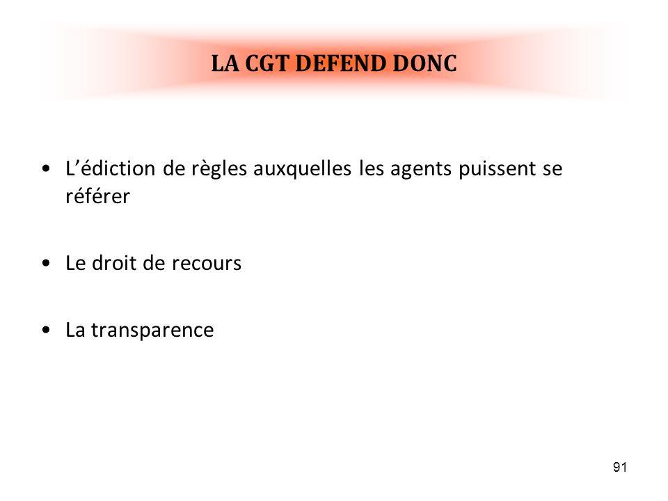 LA CGT DEFEND DONC L'édiction de règles auxquelles les agents puissent se référer. Le droit de recours.