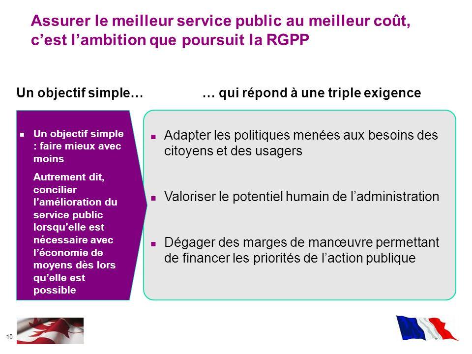Assurer le meilleur service public au meilleur coût, c'est l'ambition que poursuit la RGPP
