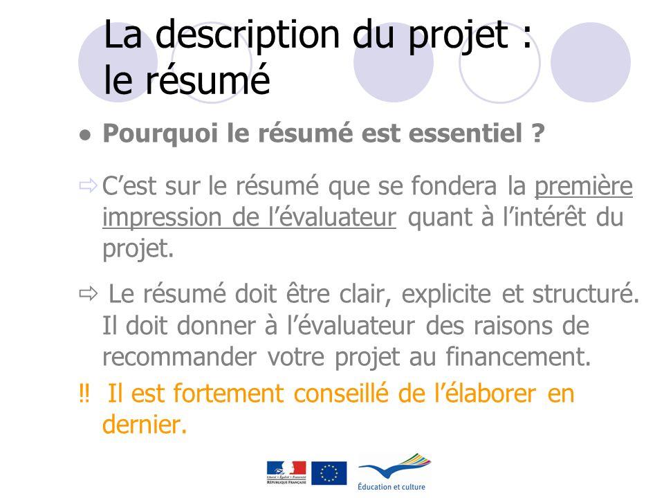 La description du projet : le résumé