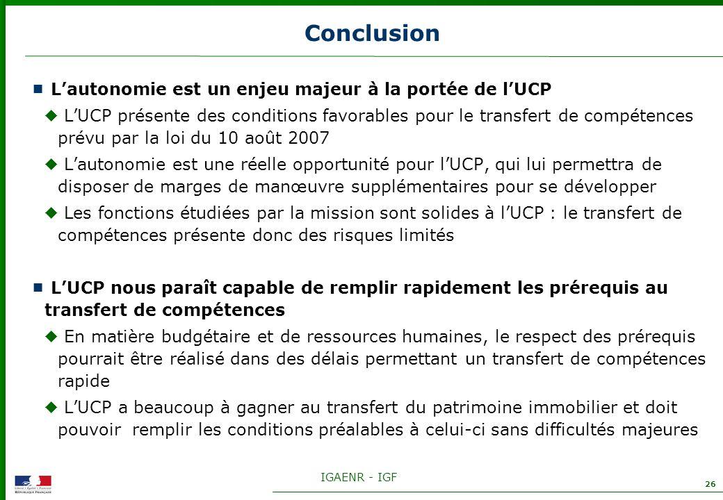 Conclusion L'autonomie est un enjeu majeur à la portée de l'UCP