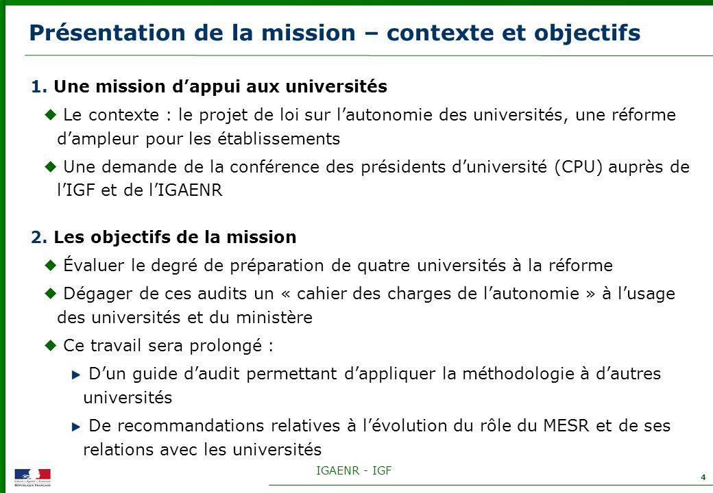Présentation de la mission – contexte et objectifs