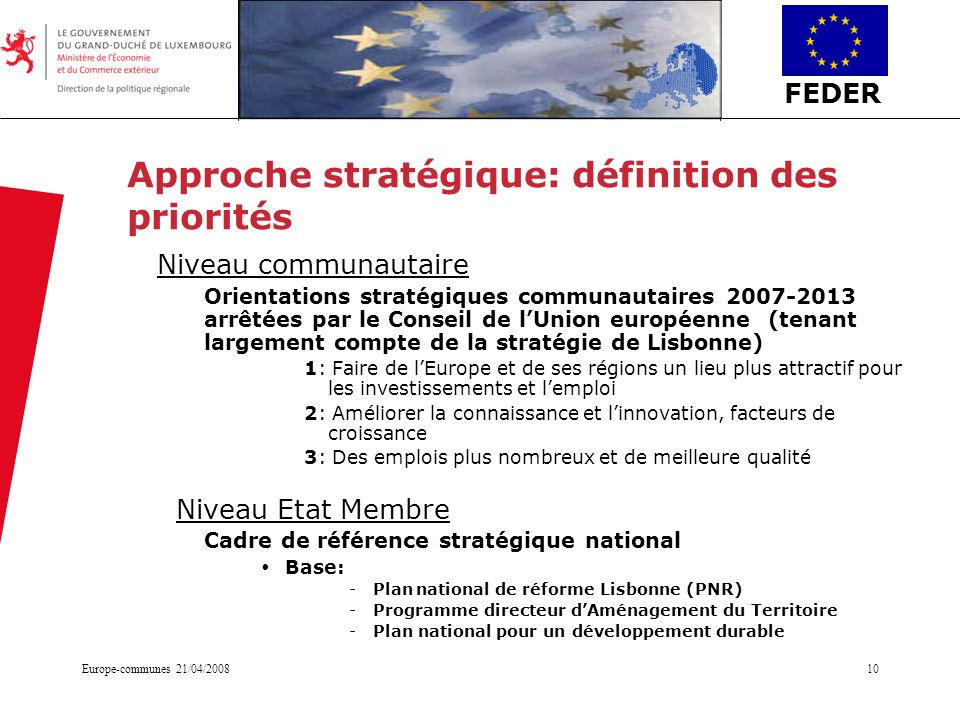 Approche stratégique: définition des priorités
