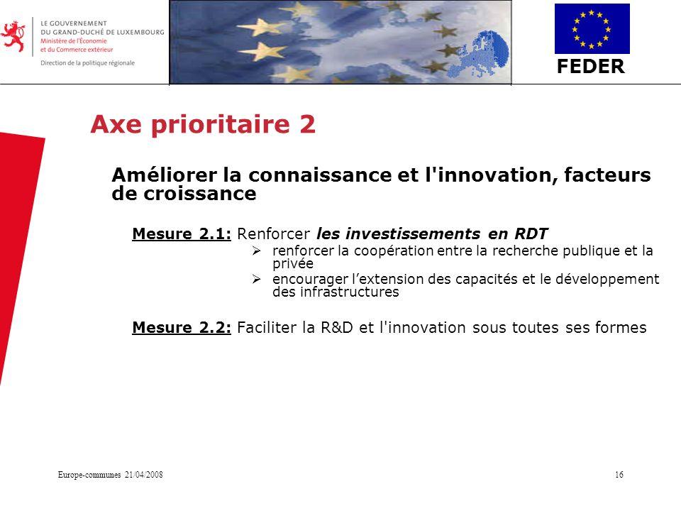 Axe prioritaire 2 Améliorer la connaissance et l innovation, facteurs de croissance. Mesure 2.1: Renforcer les investissements en RDT.