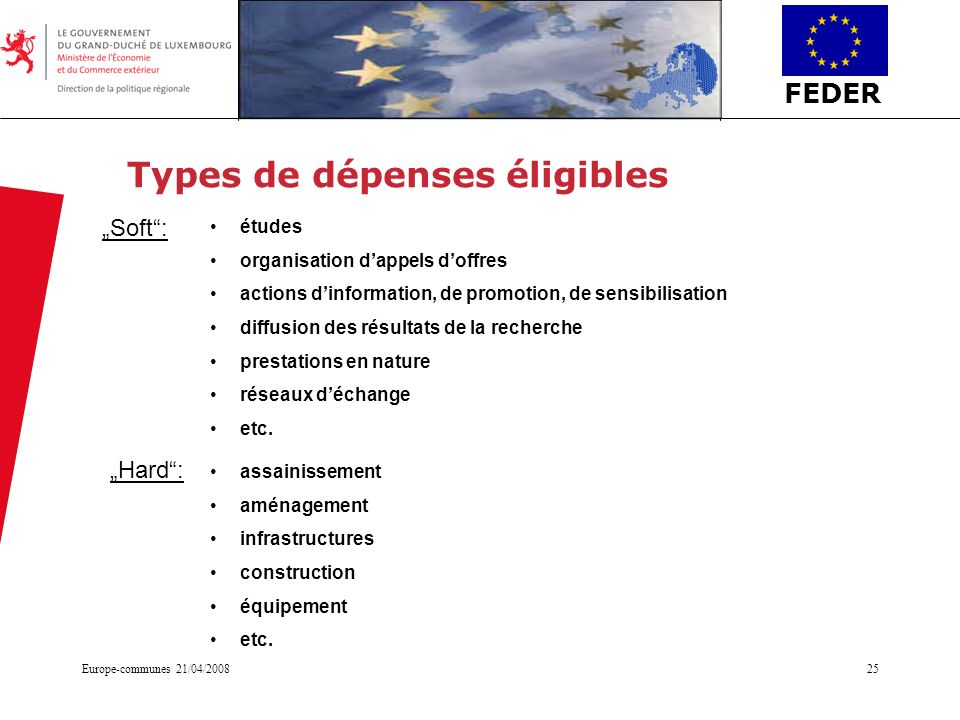 Types de dépenses éligibles