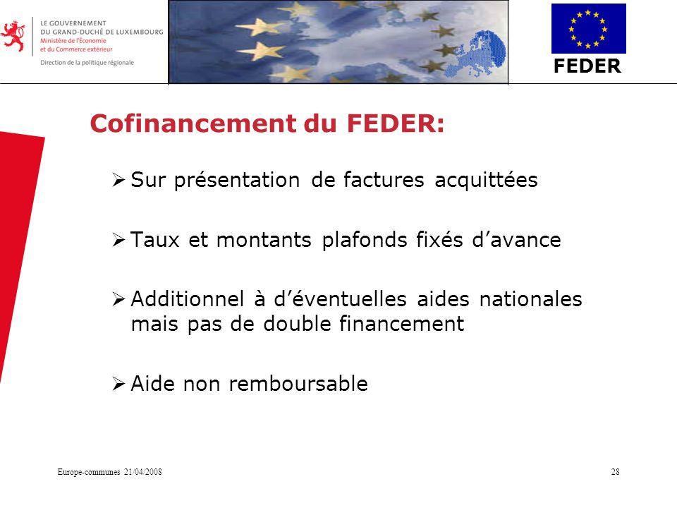 Cofinancement du FEDER:
