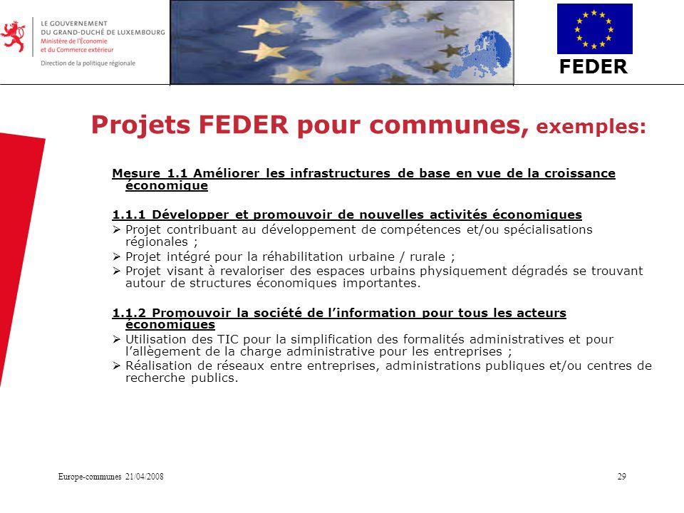 Projets FEDER pour communes, exemples: