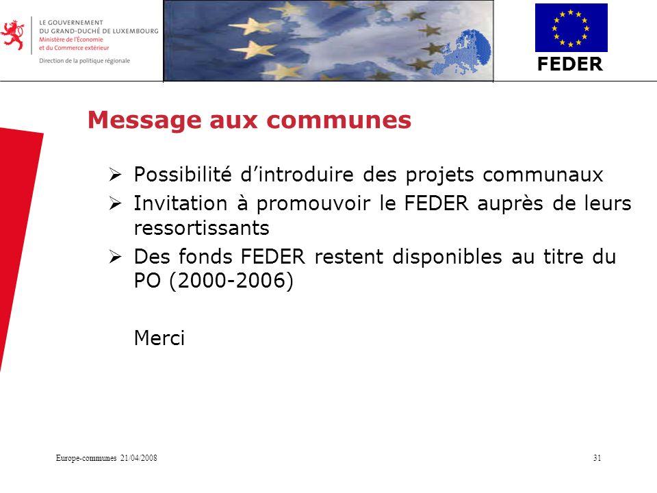 Message aux communes Possibilité d'introduire des projets communaux