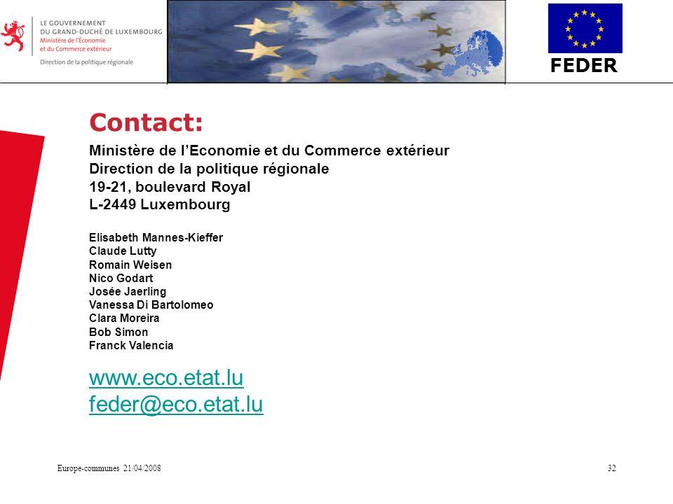 Contact: www.eco.etat.lu feder@eco.etat.lu