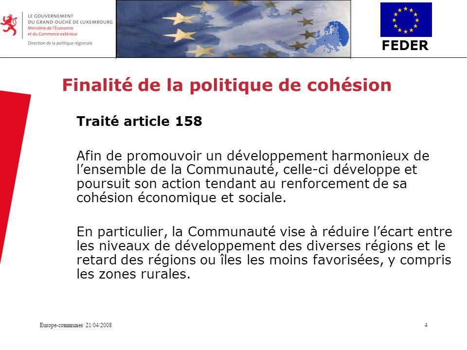 Finalité de la politique de cohésion