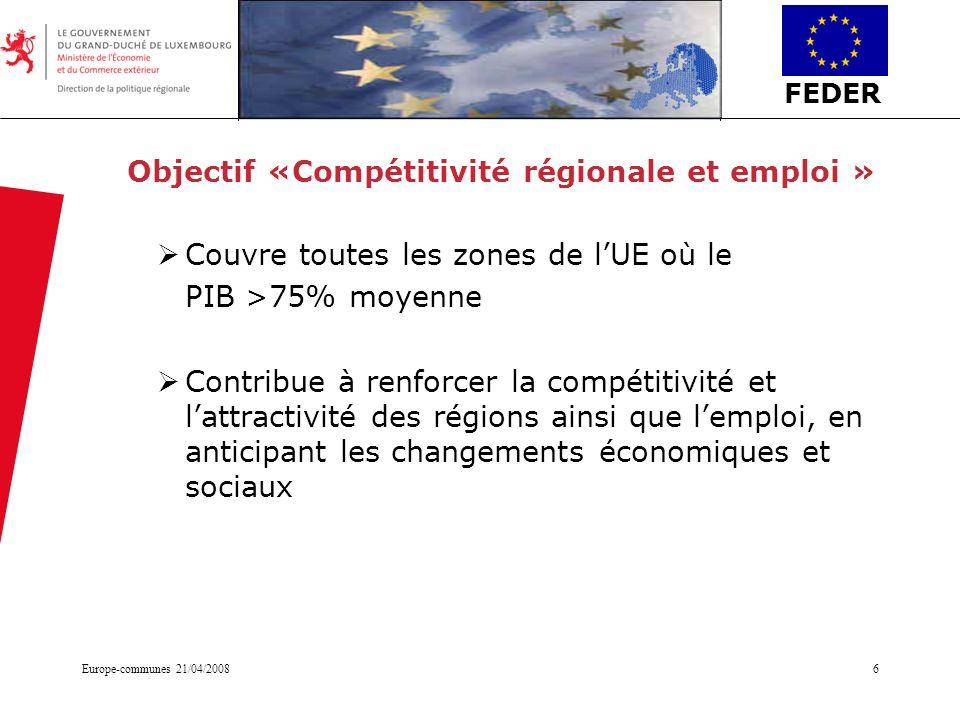 Objectif «Compétitivité régionale et emploi »