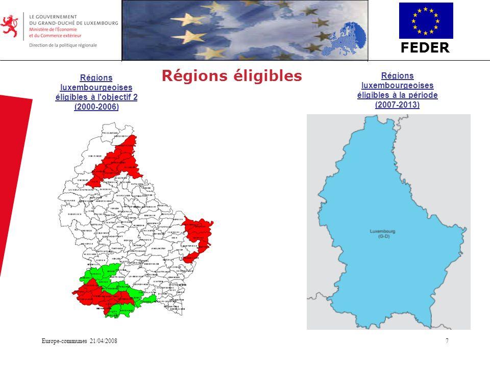 Régions éligibles Régions luxembourgeoises éligibles à l objectif 2 (2000-2006) Régions luxembourgeoises éligibles à la période (2007-2013)